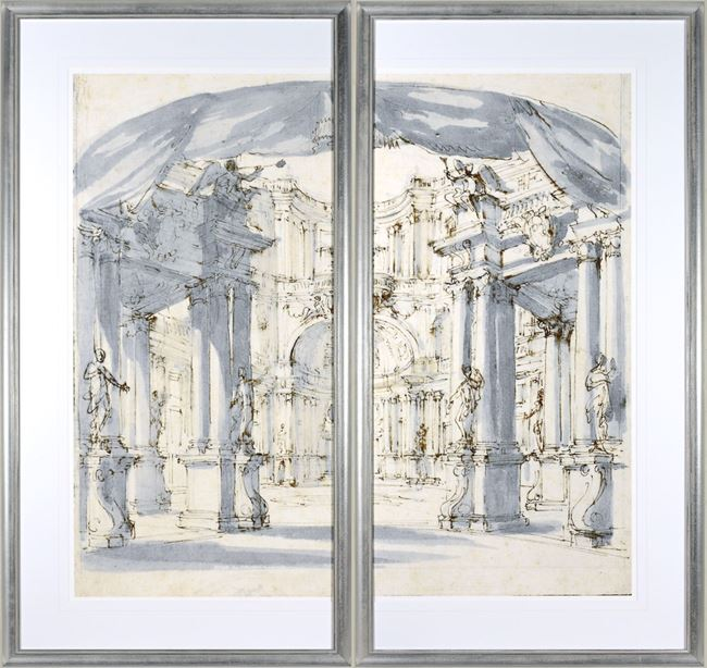 Picture of Courtyard, The 1713 Stage Set - Diptych