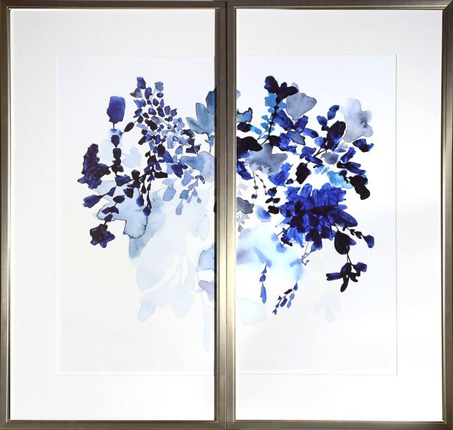 Picture of Blue Watercolour Bouquet Diptych
