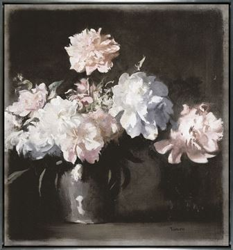 Picture of Still Life - Vase Of Peonies - Framed Canvas