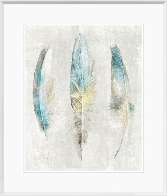 Picture of Aqua Feathers on Linen II