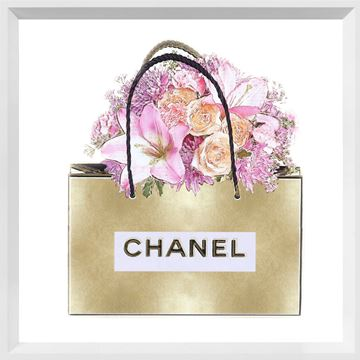 Picture of Gold Bag with Pink Bouquet