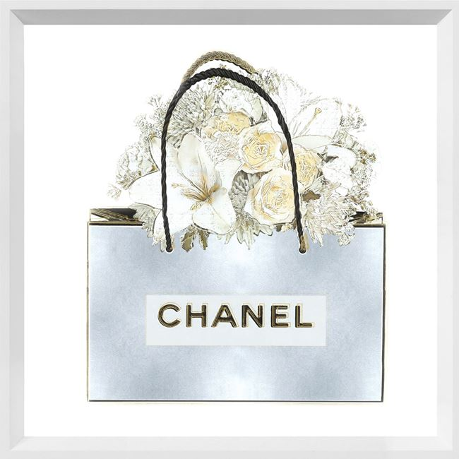 Picture of Silver Bag with Floral Bouquet