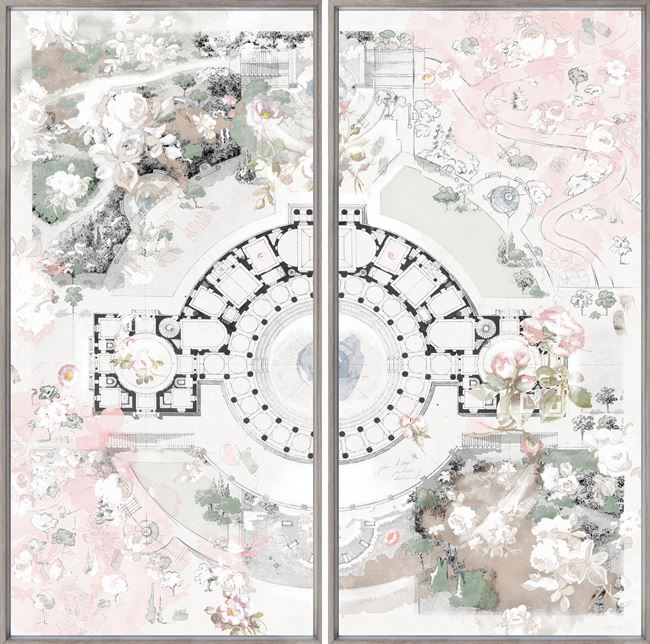 Picture of Roman Villa Rose - Diptych - Framed Canvas Med