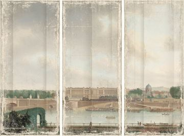 Picture of View From The Batavian Embassy Paris, 1801 - Gallery Wrap Canvas Triptych - Med