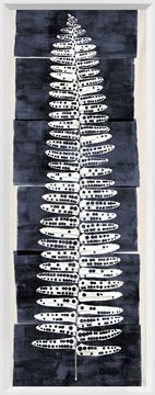 Picture of Tall Frond I - Indigo and Cream - Large