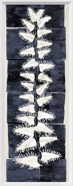Picture of Tall Frond II - Indigo and Cream - Large