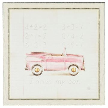Picture of Kids - Pink Car - Framed on Board