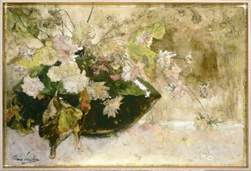 Picture of Still Life With Peonies  - Framed Canvas