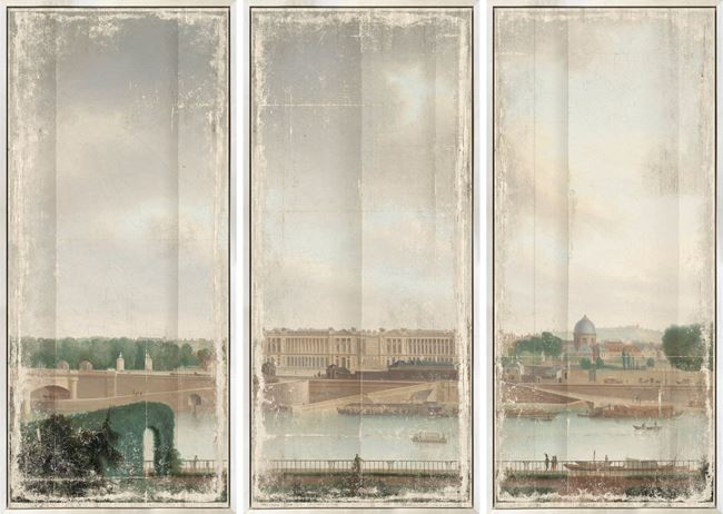 Picture of View From The Batavian Embassy Paris, 1801 - Framed Canvas Triptych