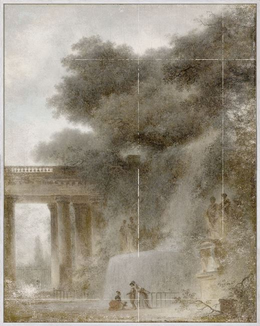 Picture of Fragonard - The Cascade - Mid Framed Canvas