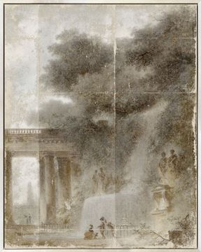 Picture of Fragonard - The Cascade - Mid Framed Canvas (B)