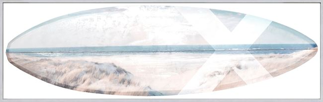 Picture of Surfboard - Beach View - Framed Canvas