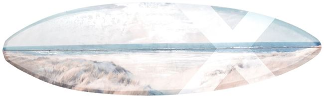 Picture of Surfboard - Beach View - Gallery Wrap Canvas
