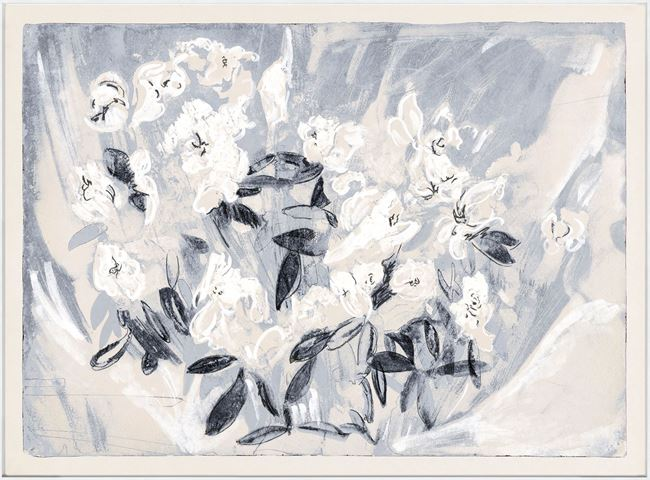 Picture of Floral Gesture in Delft II - Framed Canvas