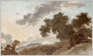 Picture of Mountain Landscape at Sunset C. 1765 - Framed Canvas