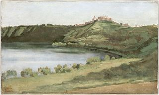 Picture of Lake Albano and Castel Gandolfo C. 1826 - Framed Canvas