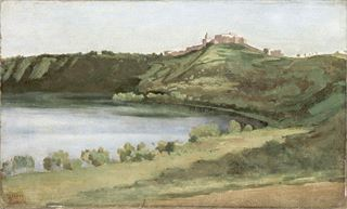 Picture of Lake Albano and Castel Gandolfo C. 1826 - Gallery Wrap Canvas