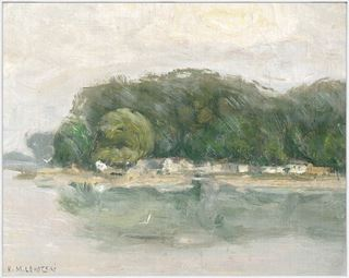 Picture of Bank on the Danube C. 1900 - Framed Canvas