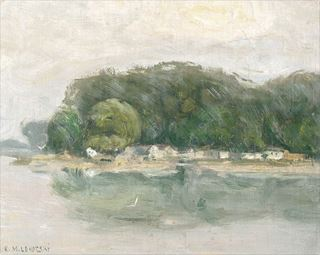 Picture of Bank on the Danube C. 1900 - Gallery Wrap Canvas