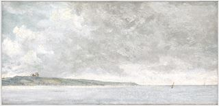 Picture of Coastal Scene with Cliffs C. 1814 - Framed Canvas