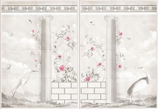 Picture of Greco-Roman Aviary Diptych - Shown with Pantone's Raspberry Sorbet