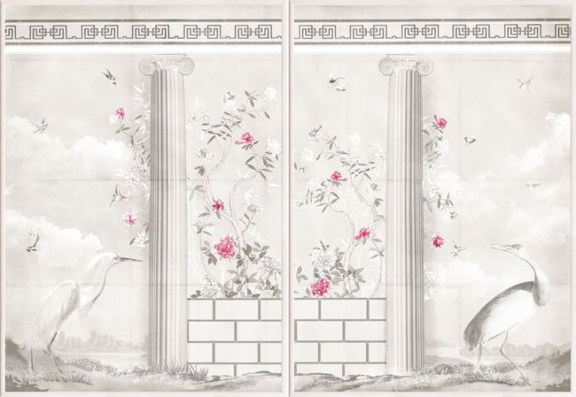 Picture of Greco-Roman Aviary Diptych - Under Glass