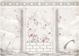 Picture of Greco-Roman Aviary Diptych Mid - Gallery Wrap Canvas - Shown with Pantone's Raspberry Sorbet