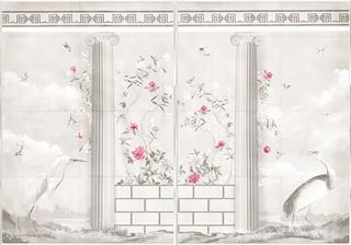 Picture of Greco-Roman Aviary Diptych Large - Framed Canvas - Shown with Pantone's Raspberry Sorbet