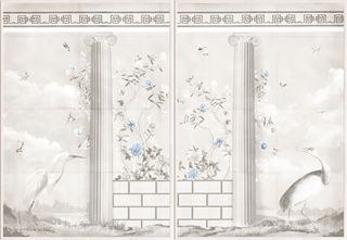 Picture of Greco-Roman Aviary Diptych - Shown with Pantone's Cerulean
