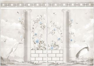 Picture of Greco-Roman Aviary Diptych Large - Framed Canvas - Shown with Pantone's Cerulean