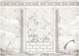 Picture of Greco-Roman Aviary Diptych Large - Gallery Wrap Canvas - Shown with Pantone's Cerulean