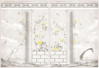 Picture of Greco-Roman Aviary Diptych - Shown with Pantone's Illuminating