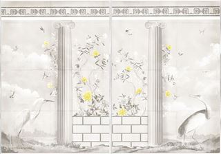 Picture of Greco-Roman Aviary Diptych Large - Framed Canvas - Shown with Pantone's Illuminating