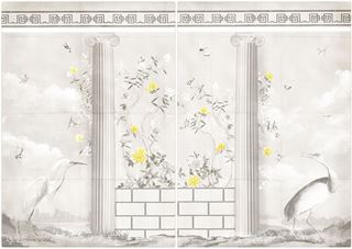 Picture of Greco-Roman Aviary Diptych Large - Gallery Wrap Canvas - Shown with Pantone's Illuminating