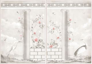 Picture of Greco-Roman Aviary Diptych - Shown with Pantone's Burnt Coral