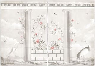 Picture of Greco-Roman Aviary Diptych Large - Framed Canvas - Shown with Pantone's Burnt Coral