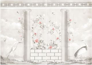 Picture of Greco-Roman Aviary Diptych Large - Gallery Wrap Canvas - Shown with Pantone's Burnt Coral