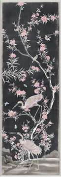 Picture of Chinoiserie Panel II C. 1890 - Charcoal - Small