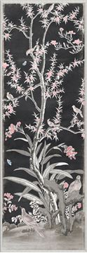 Picture of Chinoiserie Panel III C. 1890 - Charcoal - Large