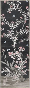 Picture of Chinoiserie Panel I C. 1890 - Charcoal - Framed Canvas