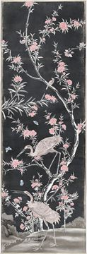 Picture of Chinoiserie Panel II C. 1890 - Charcoal - Framed Canvas