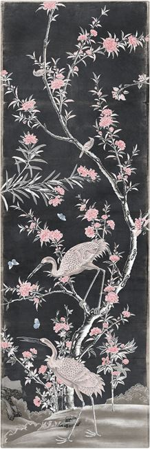 Picture of Chinoiserie Panel I C. 1890 - Charcoal - Gallery Wrap Canvas