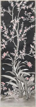 Picture of Chinoiserie Panel III C. 1890 - Charcoal - Framed Canvas