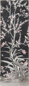 Picture of Chinoiserie Panel III C. 1890 - Charcoal - Gallery Wrap Canvas